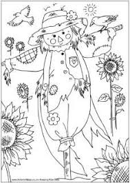 fall scarecrow pumpkins coloring free kids coloring