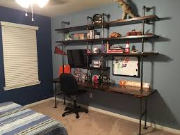 tween boy bedroom ideas industrial shelves galvanize pipes industrial desk teen boy