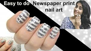 easy to do newspaper print nail art tutorial youtube