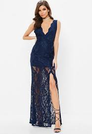 lace maxi dress navy plunge scallop trim lace maxi dress missguided