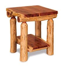 End Table With Shelves by Living Room Dutchman Log Furniture