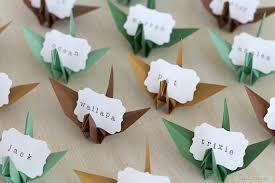 16 origami grue nom cartons papier faveurs engagement dîner
