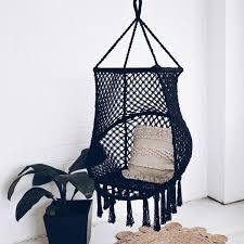 macrame birdcage hammock chair swing bondi black u2013 ivory u0026 deene