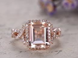 big jewelry rings images Big emerald cut pink morganite engagement ring solid 14k rose gold jpg