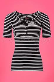 tante betsy 60s breton striped top in black