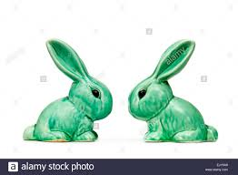 pair of vintage sylvac pottery ceramic rabbit ornaments stock photo