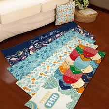 Fish Bath Rug 40cm 60cmcolorful Fish Flannel Carpet Bathroom Water Absorption