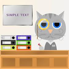 le bureau pince cat manager s assied derrière le bureau dans le bureau et écrit