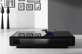 luxurious black glass coffee table design decorated with glass