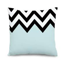light blue pillow cases custom geometric cushion cover light blue white black chevron canvas