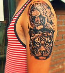angry and smart tiger on arm tattoomagz