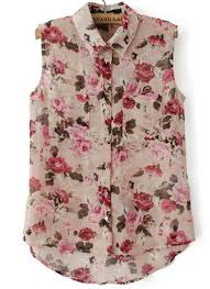 floral blouse pink lapel sleeveless floral dipped hem blouse abaday com