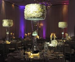 large white table centerpiece with glowing mirror box wedding