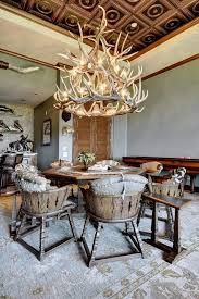 Table L Chandelier Octagon Dining Table Room Rustic With Antler Chandelier