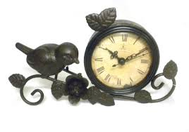 Pewter Mantle Clock Amazon Com Shabby Chic Antiqued Metal Mantle Clock With Bird And