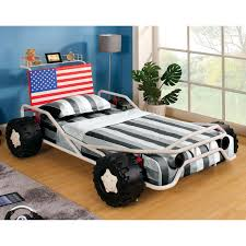 Car Bed Frames Ricky Racer Metal Race Car Bed White Walmart