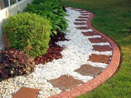 White Rock Garden Simple Rock Garden Ideas With Brick Tiles Landscaping Ideas