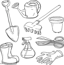 different gardening tools collage vector art getty images