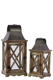 urban trends home decor wood lantern with metal top and hangers set of two natural wood