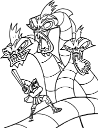 hercules dragon fight coloring pages wecoloringpage