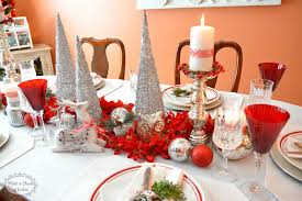 Xmas Table Decorations by Red And Silver Christmas Table Decorations 12471