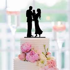 family wedding cake toppers family silhouette cake topper and with a baby and