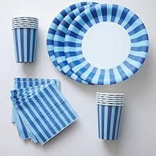 navy blue stripe paper plates cups napkins 12