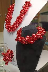 earrings necklace bracelet images Statement red crystals pearls cluster necklace bracelet earrings jpg