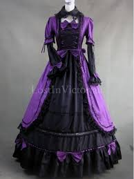 gothic purple and black colonial period dress women halloween