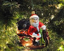 santa with in sleigh crafted glass ornament