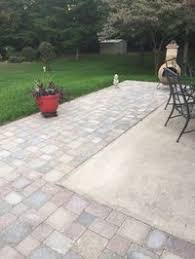 Concrete Patio With Pavers Expand Slab Patio With Paver Stepping Stones Yard Ideas