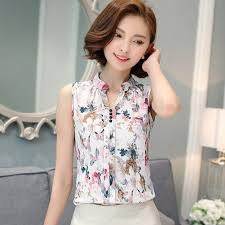 sleeveless blouses fashion summer chiffon blouse printed sleeveless blouse