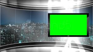 Green Tv Hd Virtual Tv Studio News Set With City Skyline In The Background