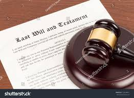 Seeking Gavel Last Will Testament On Yellowish Paper Stock Photo 722034661