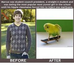 Injecting Marijuanas Meme - marcus was student council president a straight a student and was
