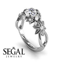 flower engagement rings nature inspired engagement ring 14k white gold 0 84 carat