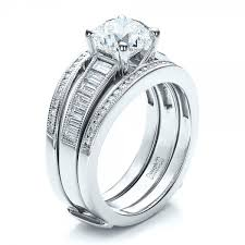 custom rings with images Custom baguette channel engagement ring with jacket 100053 jpg