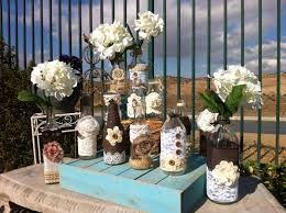 vintage wedding decorations in color theme cement patio