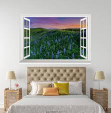 3d field of flowers sunset window wall sticker decal idcch ls