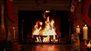 cozy christmas yule log fireplace with crackling fire sounds