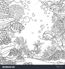 underwater world with corals fish algae and anemones coloring