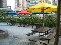Patio Umbrella Tables Furniture Metal Picnic Tables With Colorful Patio Umbrella And