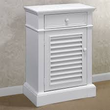 White End Table With Drawer And Single Shutter Door Cabinet Of