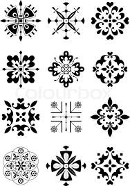 traditional ethnic ornament black and white vector illustration