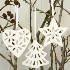 3 assorted white porcelain decorations clay ornaments