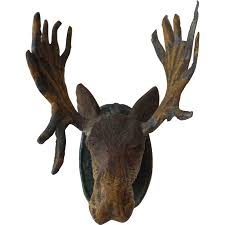 doll house metal moose head wall hanging from antiquedolladdiction