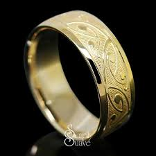 gold wedding ring koru patterned gold band finished ring