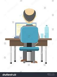 computer back bald man sitting desk working on stock vector 501289984 shutterstock
