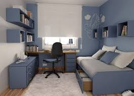 teenage bedroom design with blue themes decoration home interior