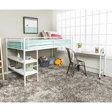 twin metal loft bed with desk and shelving amazon com twin modern metal loft bed with desk and shelves white
